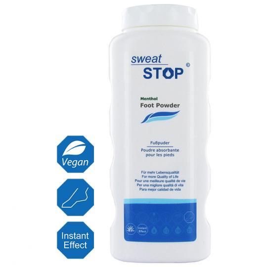 SweatStop® Menthol Fußpuder für ein trockenes und angenehmes Fußklima.